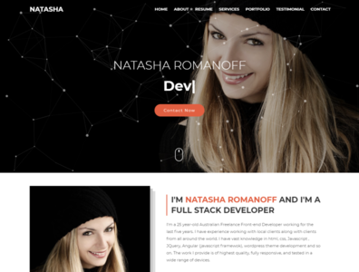 Natasha   One Page Portfolio html Template freelancer minimal responsive onepage modern creative bootstrap css3 html5 template web design html template portfolio personal