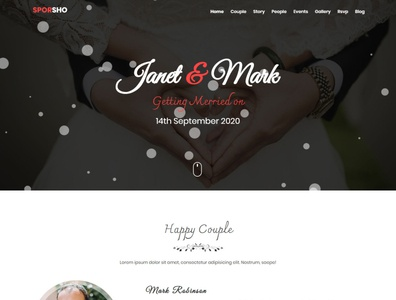 Sporsho - One Page Wedding Invitation Template romance groom bride rsvp engagement couple marriage love invitation events simple clean responsive