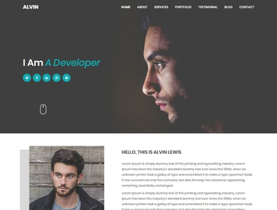Alvin - Personal Portfolio Template html css bootstrap template bootstrap onepage html template portfolio photography personal minimal gallery freelancer cv creative corporate clean business blog agency responsive