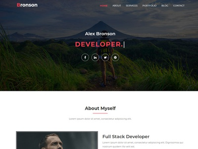 Bronson-Personal Portfolio Landing Page Template portfolio template personal portfolio onepage minimal html template css html gallery creative corporate clean business bootstrap template bootstrap blog responsive agency