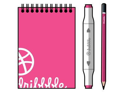 The Dribbble Drawing Tools vector illustration vector illustration sketchbook pencil marker pen