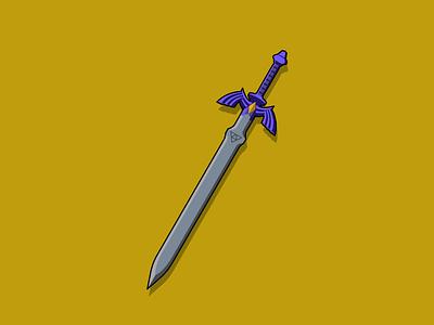 Master Sword video game artwork blade sword legend of zelda zelda video game art flat design design vector illustration illustration vector
