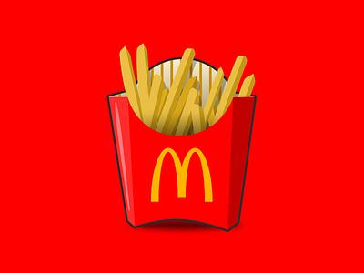Fries box fast food mcdonalds french fries fries design vector illustration illustration vector