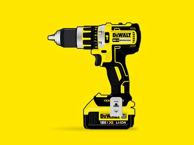 DeWalt Drill makita dewalt power tools tools vector art design vector illustration illustration vector