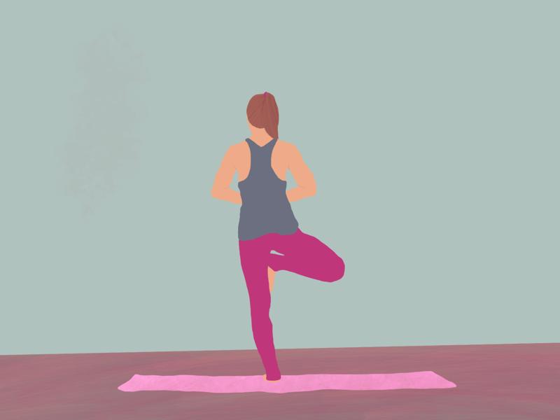 Yoga ipad painting colors tree pose day7 challenge graphic design design illustration procreate yoga
