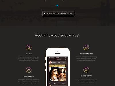 Flock App ui app iphone video homepage website dark flock debut launch dating