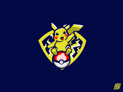 Pikachu on Pokéball Mascot Design