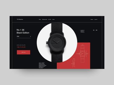 TID Watches animation typography animation interaction fashion ui web swiss black design minimal