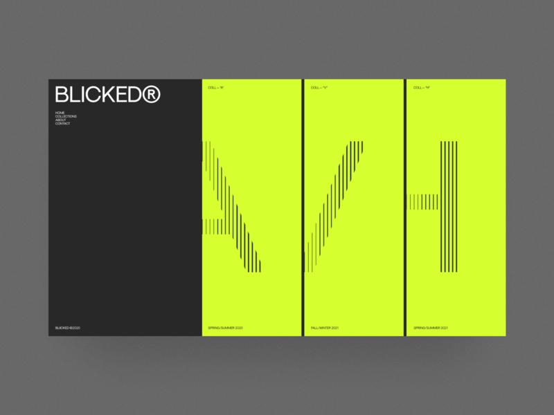 Blicked® grid fashion ui web design black web design website ecommerce letters typography minimal