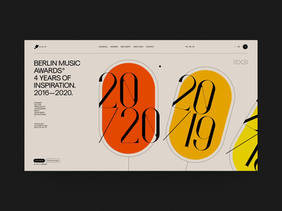 Berlin Music Awards animation typography award event festival music fashion ui swiss black design minimal