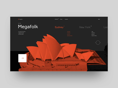 Megafolk animation ui animation interaction website typography megapolis swiss black urban city design minimal