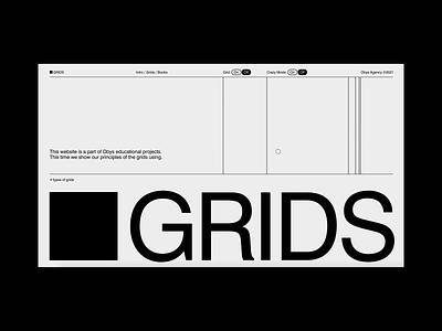 Grids interaction education animation web typography swiss black design minimal grids
