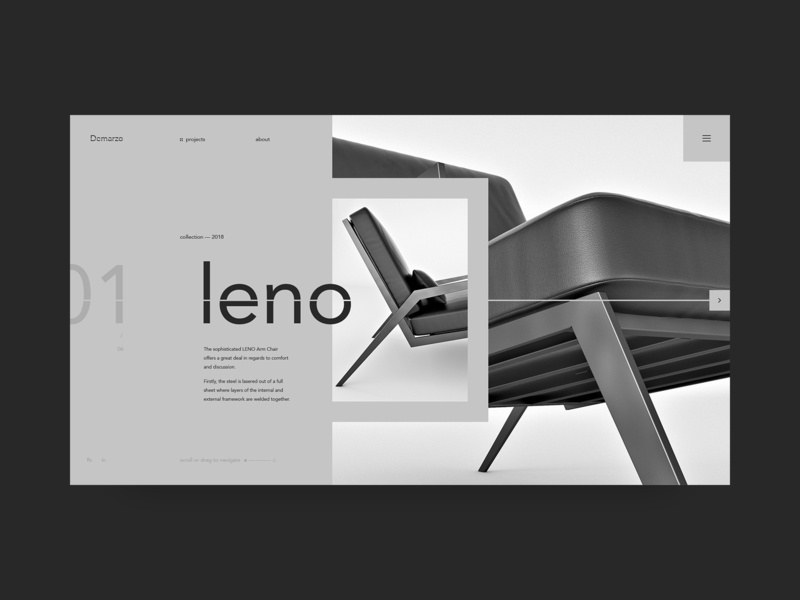 Landing page for Leno furniture interaction site ux fashion ui helvetica web black swiss typography design minimal