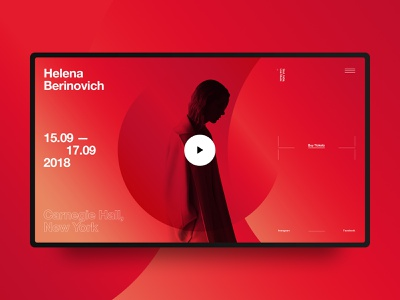 Concept for musician Helena Berinovich ux ui interaction black web website red music fashion helvetica swiss typography design minimal