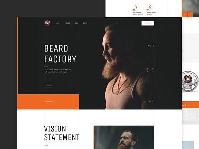 BeardFactory landing site website factory fashion web ui ux typography beard black design minimal