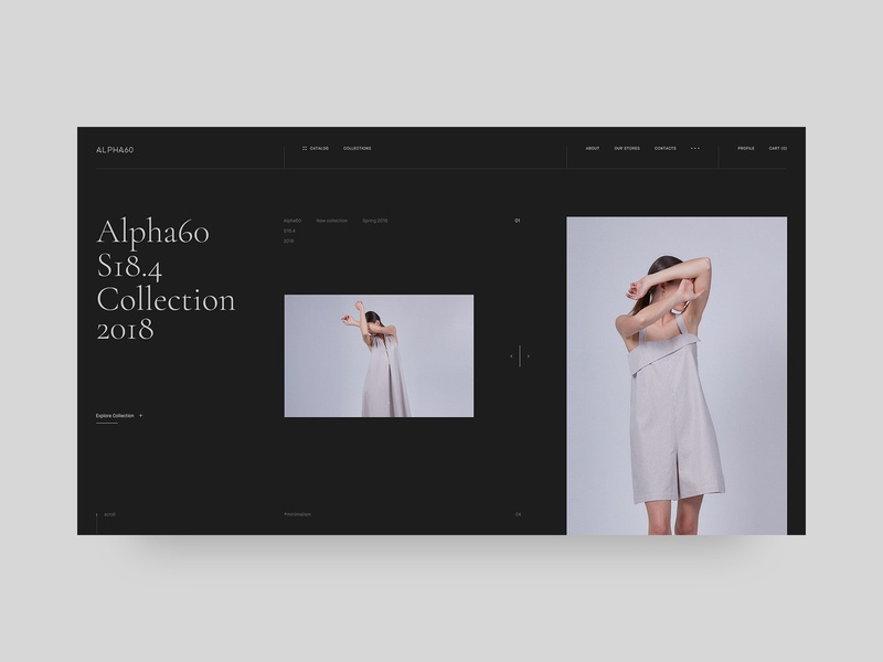 Alpha60 dress fashion app helvetica typography website interaction illustration fashion brand fashion blog fashion site ui web black design minimal