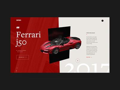 Ferrari J50 Roadster ferrari automotive animation interaction 3d typography fashion web ui ux website black swiss helvetica supercar engine vehicle car design minimal