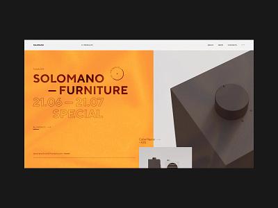 Solomano website furniture app fashion online branding web helvetica logo grid interaction ux website typography orange ui site swiss black design minimal