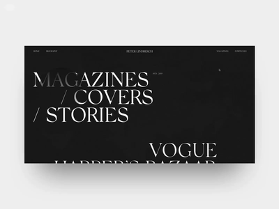 Peter Lindbergh Magazine site web photographer fashion typography helvetica ui swiss design black minimal