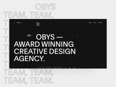 Obys About aboutus about page about team animation interaction ui web swiss design black minimal