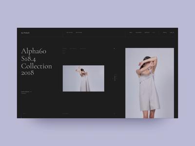 Alpha60 site web ui typography editorial fashion shop ecommerce swiss black design minimal