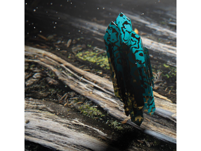 Crystals over wood weathering weathered moss wood gold subsurface scattering blue crystal cinema4d abstract c4d
