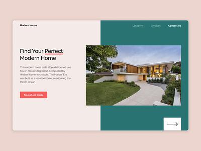 'Modern House' Website - Landing Page website design landing page webdesign minimal web ux ui