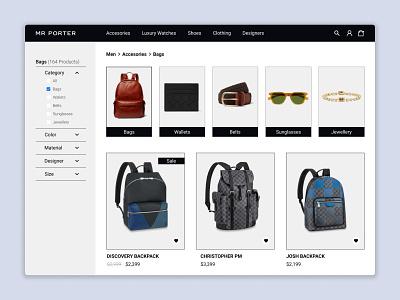 Mr Porter - Category Page - Prototype website web ux ui webdesign category page ecommerce design ecommerce
