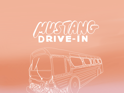 MUSTANG DRIVE IN branding graphic design drawing vintage design female illustrator illustration drive thru