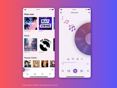 Music Player musicplayerapp music music app music player dailyui009 dailyuichallenge app design visual design uidesign dailyui