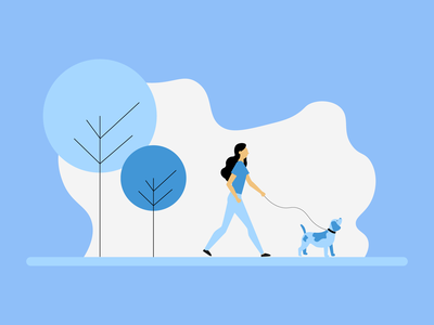 Women Walking Dog - Flat Design designs cartoon character colours vector illustrator graphicdesign illustration design flat
