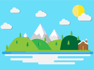Floating Island cartoon designs landscape colours illustrator graphicdesign vector illustration design flat