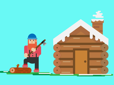 Lumber Jack and Wood Cabin Flat Design