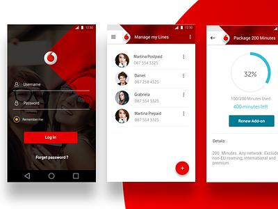 Vodafone Turkey App design material flat mobile black login usage telecom ux ui red vodafone