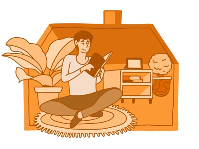 Stay home, Save lives, Mmm Orange adobe illustrator work from home relax chill books read plants vector simple house adobefresco covid-19 drawing illustration social distancing coronavirus