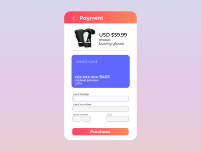 DailyUI #002 | Credit Card Payment minimal flat design mobile ui ux