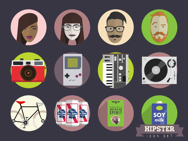 Hipster Icon Set icon ui flat design illustration hipster vector ironic music bikes moustache people