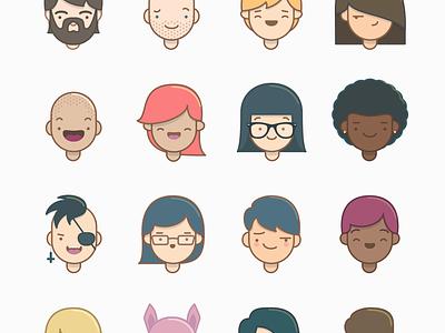 Peeps (freebie) illustration icons faces smile character people comic happy free freebie vector