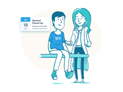 Clinic Visits Illustration for Landing Page - Carbon