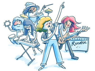 Rocking Out drawing characters comics hand drawn synth singing microphone keyboard drums guitar music band