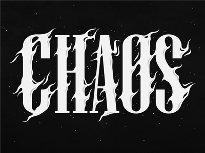 Chaos Flames design letterer 40000 40k warhammer black and white fire flames letters chaos illustration calligraphy lettering designer graphic design
