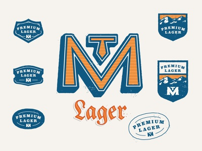 Premium Lager badge design badge mountains mountain icon print kevin kroneberger fort collins colorado beer craft beer lager can design typography beer design beer