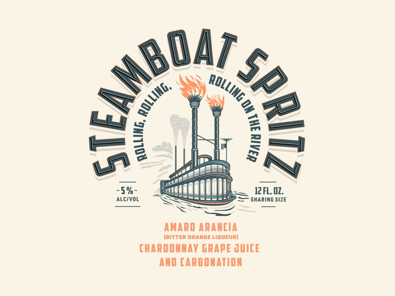 Steamboat Spritz Concept packaging design can design canned cocktails canned spirits distillery illustration steamboat