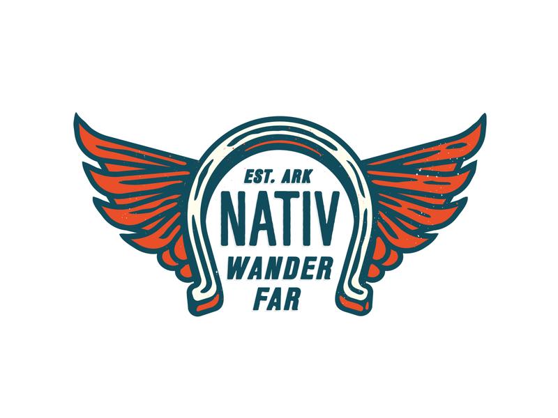 Liv Nativ Apparel brand logo apparel logo kevin kroneberger illustration merchandise design merch print outdoor adventure fly fishing arkansas wings horseshoe icon