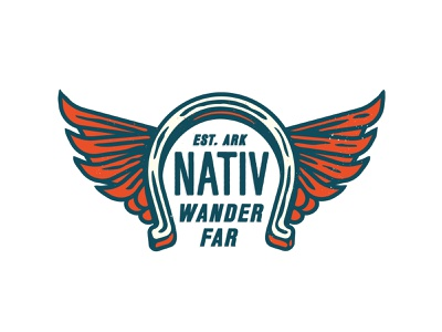 Liv Nativ Apparel brand logo apparel logo kevin kroneberger illustration merchandise design merch print outdoor adventure fly fishing arkansas wings horseshoe icon