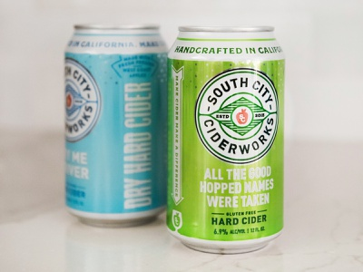 South City Ciderworks typography print california cider california kevin kroneberger craft cider beverage san francisco cider bay area hard cider cider packaging can design