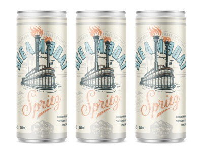 Steamboat Spritz distillery design craft spirits longtucky spirits abbott and wallace distilling oranges florida steamboat typography print packaging design label design can design canned cocktail