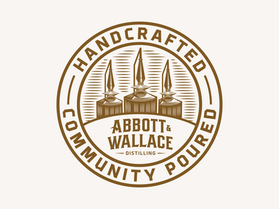Abbott and Wallace Distilling lettering type illustration stills stamp badge seal bourbon whiskey colorado distillery colorado spirits spirits distillery