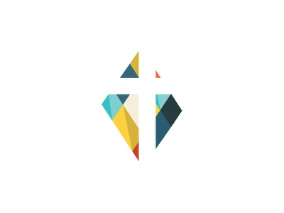 Church Logo stained glass cross brand church icon logo