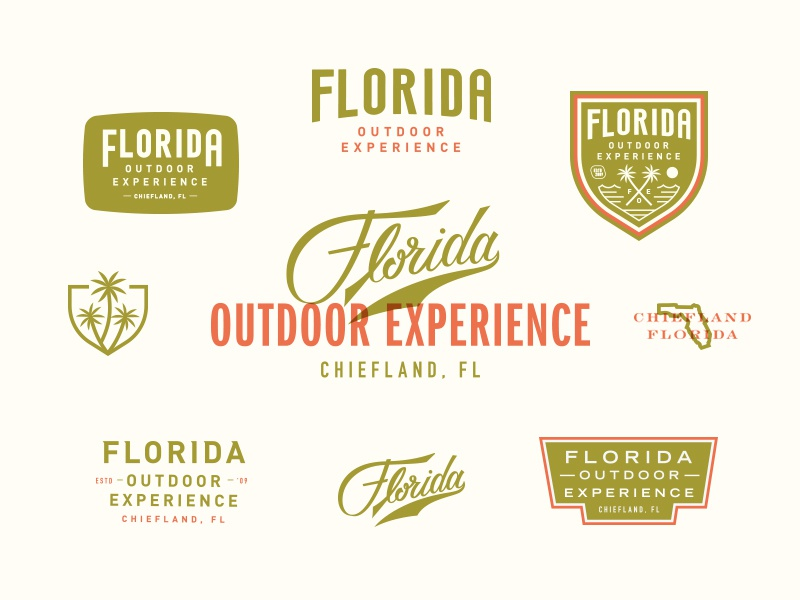 Florida Outdoor Experience palm tree surfing fishing hunting adventure florida outdoors lettering identity branding logo